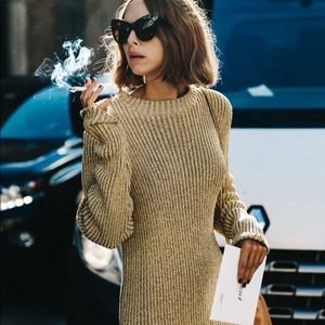 CYNTHIA STEFFE gold zipper sweater dress oversized